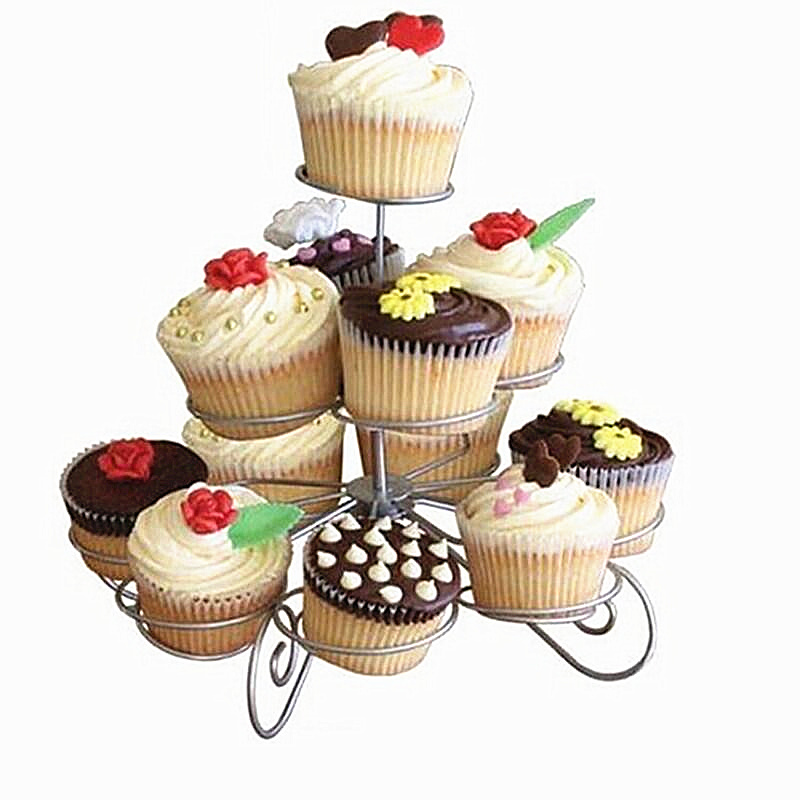 Cupcake Design Kitchen Accessories: 3 Tier Wire Cupcake Stand Muffin Holder Tower Cakes