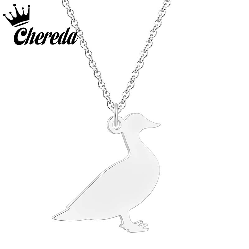 Chereda Stainless Steel Duck Shape Necklace Gold Silver Women Necklaces Cute Animal Jewelry Romantic Femme Accessories