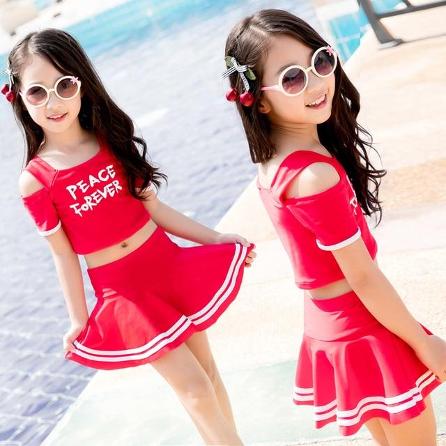 Children Swimwear Girls Print Two Pieces Swim Suits Cute Princess Girl Swimsuit Kids Tankini Bathing Suits Beach Skirt Swim Suit