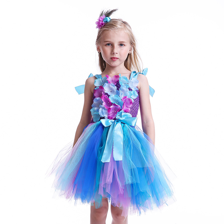 Girls Princess Peacock Flower Tutu Dress Children Fairy Floral Costume Baby Purple Blue Christmas Gifts Clothing Kids Pavo TUTU in Dresses from Mother Kids