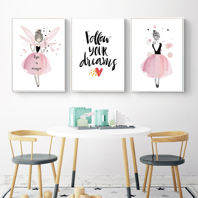 Cute Watercolor Girl Wall Art Canvas Posters And Prints Nordic Style  Painting Nursery Cartoon Pictres Kids