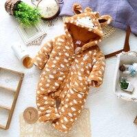 Nowy przyjazd baby boy romper dla wiosna jesień zima dziecko zwierząt styl polar bawełny wyściełane pajacyki, ubrania dla dzieci na zimę