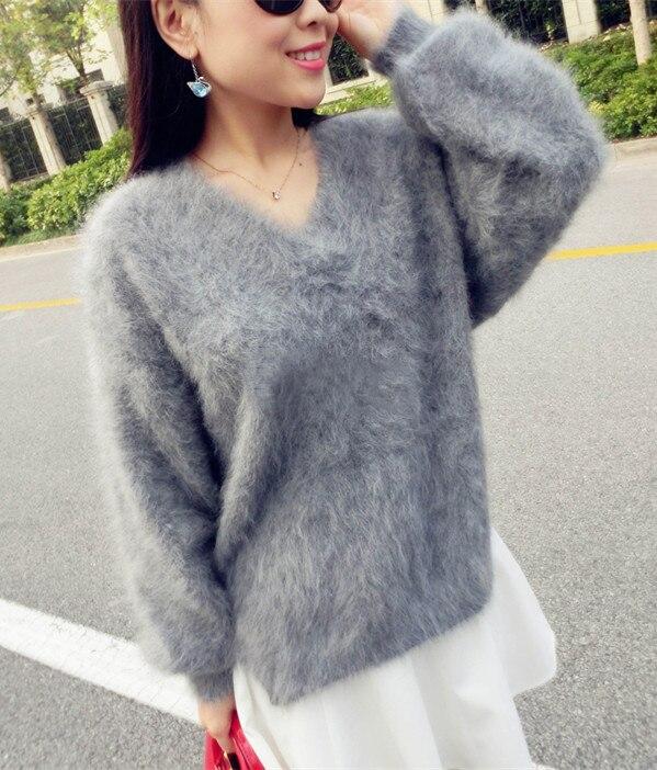 本物のミンクカシミアのセーター女性のカシミヤコート純粋なミンクカスタマイズされたサイズと色送料無料vネックセーターwsr296  グループ上の レディース衣服 からの プルオーバー の中 3