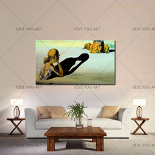 100% Handmade Or Print Wall Art Canvas Oil Painting Poster Dali Famous Contemplative Woman Art Home Decor For Living Room Gift(China)