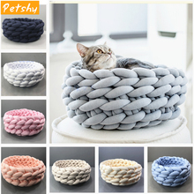 Petshy Handmade Knit Cat Beds Mats Warm Soft Small Dogs Kennel Puppy Kitten Cave Basket Sleeping Bag Detachable DIY Pet House