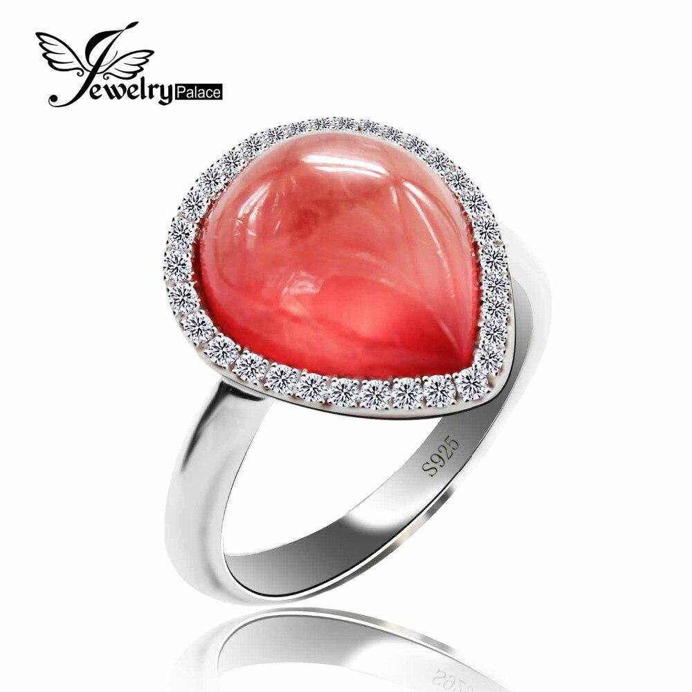 5.9ct naturel rouge Argentine Rhodochrosite pierres précieuses anneaux célèbre Designer bijoux pour femmes réel pur solide 925 argent Sterling