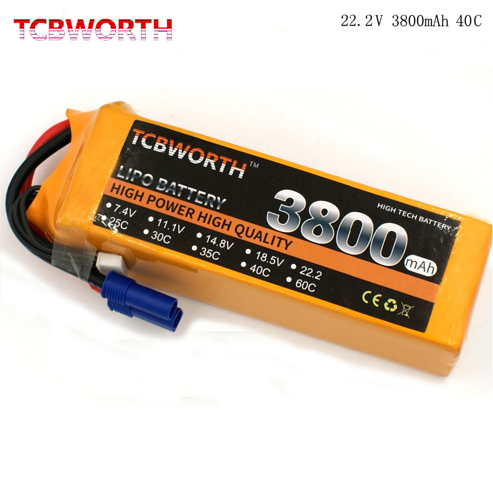 TCBWORTH RC LiPo battery 6S 22.2V 3800mAh 40C Max 80C For RC Helicopter Quadrotor Airplane Car boat Truck Li-ion battery tcb rc lipo battery 11 1v 16000mah 25c 3s for rc airplane car dron quadrotor boat li ion batteria 3s