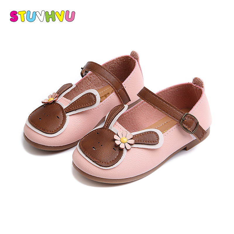 Girls leather shoes children brand designer toddler casual rubber shoes spring kids soft bottom cartoon girls child footwear