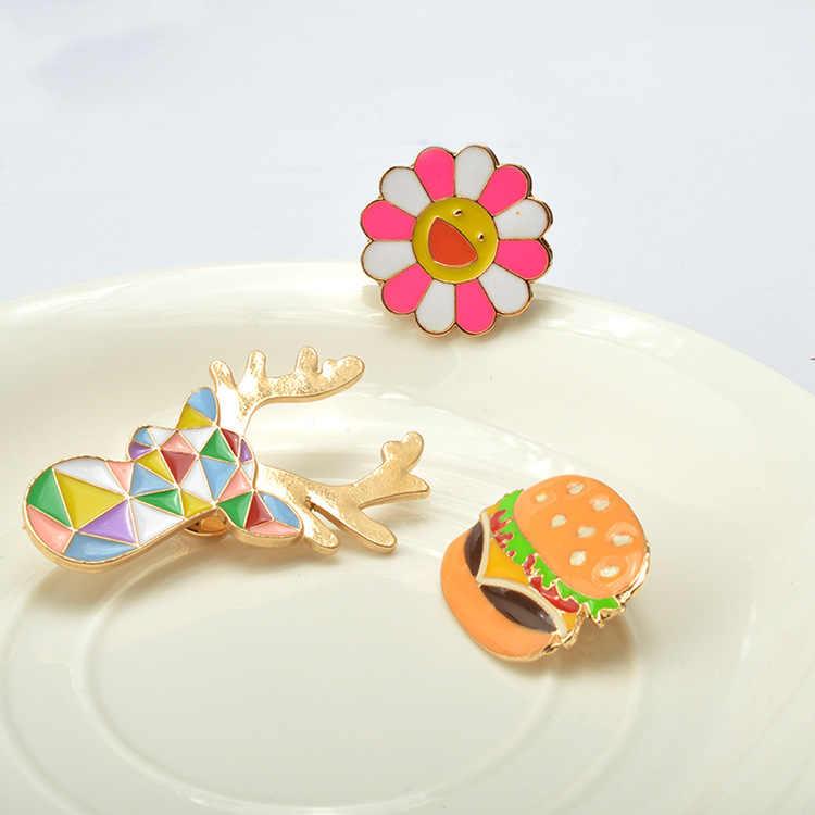Novità Colorful Hamburger Testa di Cervo Sun Flower Spille Spille Set Acrilico Brosh Harajuku Brosches Collare Distintivo Risvolto Spille Mujer