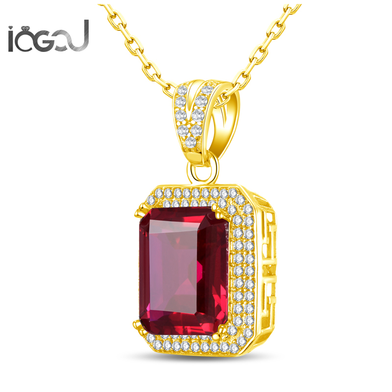 IOGOU Emeral Cut 12X14mm Red Sona Simulated Yellow Gold Color Men Engagement  925 Sterling Silver Hip Hop Pendants Jewelry GiftsIOGOU Emeral Cut 12X14mm Red Sona Simulated Yellow Gold Color Men Engagement  925 Sterling Silver Hip Hop Pendants Jewelry Gifts