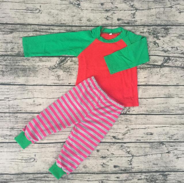 b8335acff Bebê verde raglan camisas de manga longa crianças tarja vermelha longa pant  ternos pijamas de Natal