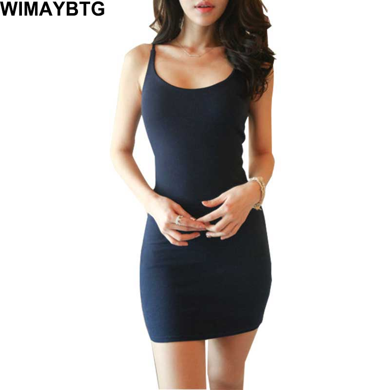 Women Summer Sexy Basic Sleeveless Bodycon Party Solid Color Mini Dresses Female Slim Vestidos Vest Tanks Backless Fashion Dress ...