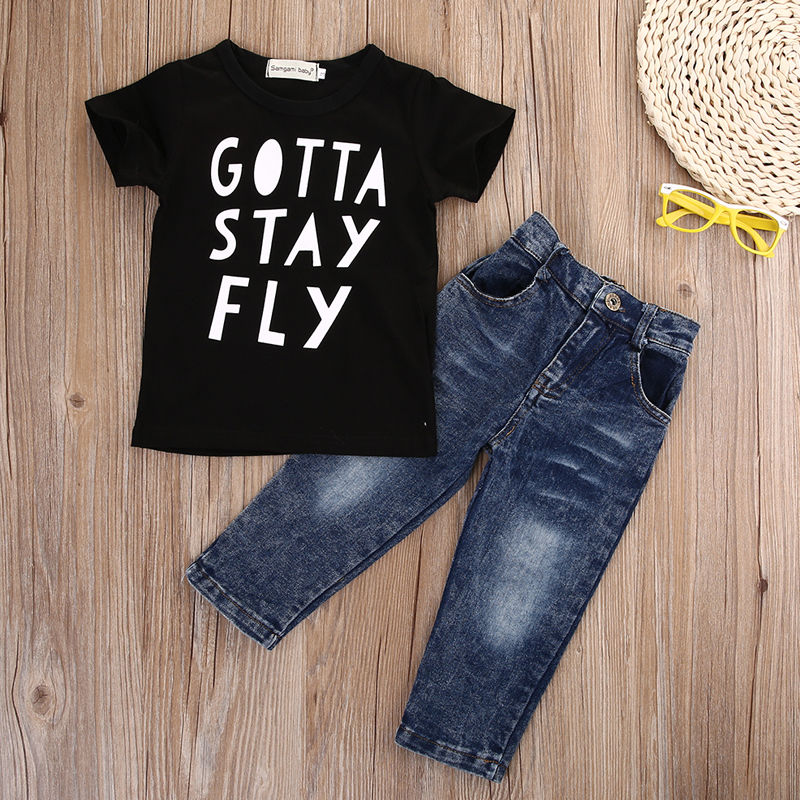 2pcs Fashion kids Baby boys clothing sets boy Cotton Letter Print short sleeve T-shirt +Stylish Jeans Outfit baby Clothes Set 2017 summer baby boys clothing sets short sleeve navy sailor print t shirt stripe pant 2pcs fashion sports kids boy clothes set