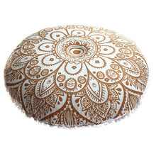 Indian Mandala Floor Kussens Ronde Bohemian Kussen Kussens Cover Enorme Case Decoratieve Kussens Cover(China)