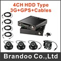 4CH 1080P HDD CAR DVR+3G+GPS+4 cameras+4 extension cables kit wholesale from Brandoo