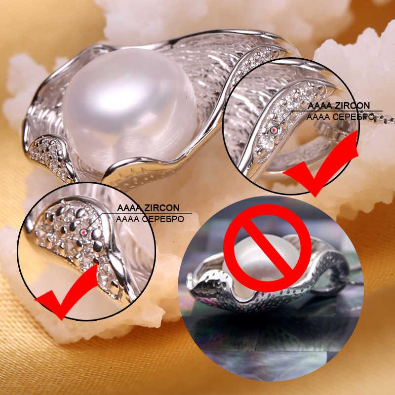 FENASY 925 スターリングシルバー天然淡水真珠のネックレスのペンダントシェルデザインのファッション真珠ジュエリーネックレス女性のための新