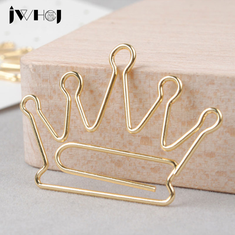10 Pcs/lot Golden Crown  Shape Paper Clip Material Escolar Bookmarks For Books Stationery School Supplies Papelaria Child Gifts
