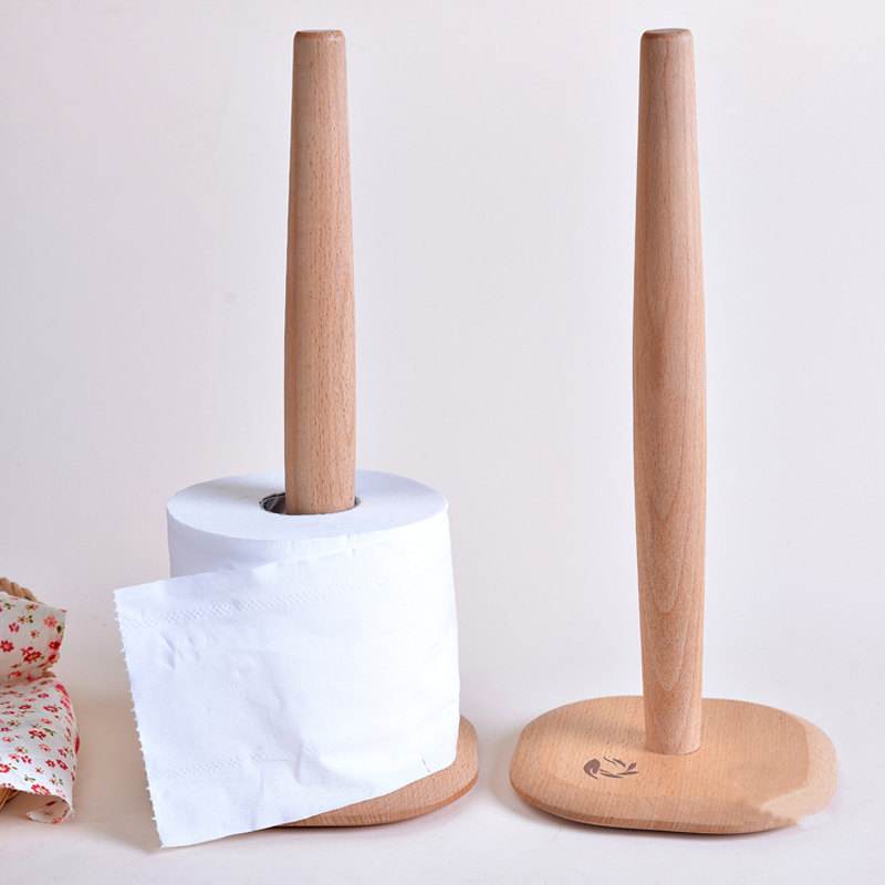 wooden kitchen towel rack natural beach wood roll paper holder Box Accessories