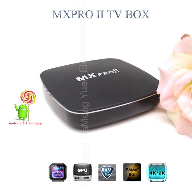 New MXpro II TV BOX Android 5.1 Smart TV Amlogic S905 Quad Core 1GB/8GB WiFi 4K HD Media Player Tv Receiver Digital Showbox