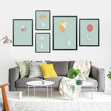 Cartoon Balloon Rabbit Posters And Prints Wall Art Canvas Painting, Infant Pictures For Baby Room