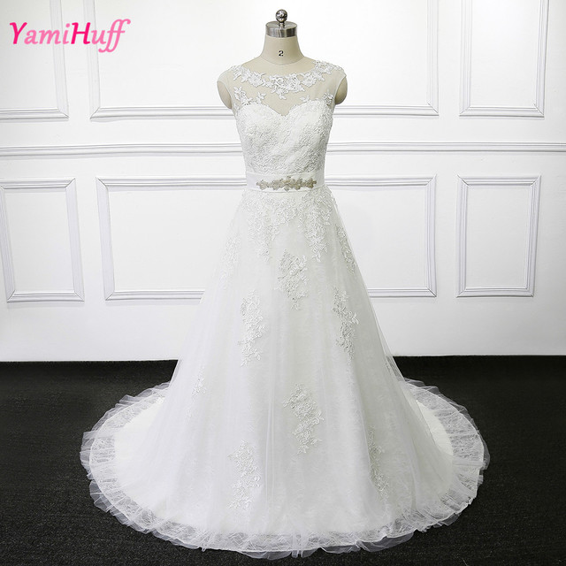 Vestido de renda Korean Wedding Dress Lace Open Back A Line ...