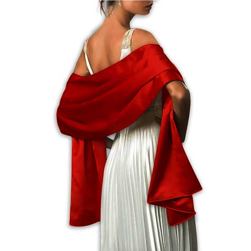 2019 Baru Kedatangan Wanita Malam Membungkus Syal 200*45 Cm Panjang Satin Formal Pesta Pernikahan Wanita Bolero