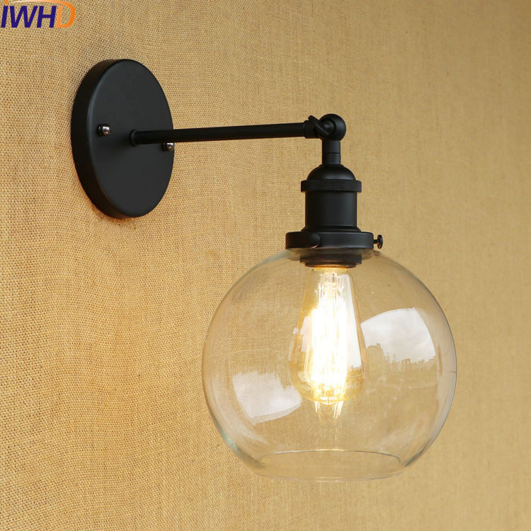 IWHD Glass Ball Retro Vintage Wall Light Fixtures Sconce Wandlamp LED Edison industrial Wall Lamp Loft Apliques Pared Lampen цена