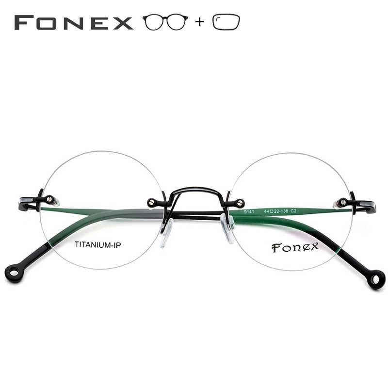 Чистая титановая оправа оправы для очков по рецепту мужские ультралегкие винтажные круглые очки для женщин Близорукость Оптические Безвинтовые очки