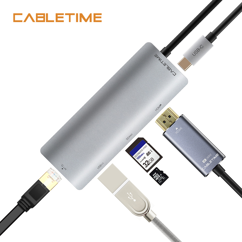 Cabletime USB Type c to HDMI HUB Type C to USB3.0 HDMI 4K 30Hz RJ45 Network SD/TF Charging 6 in 1 USB Adapter for Galaxy S9 N131