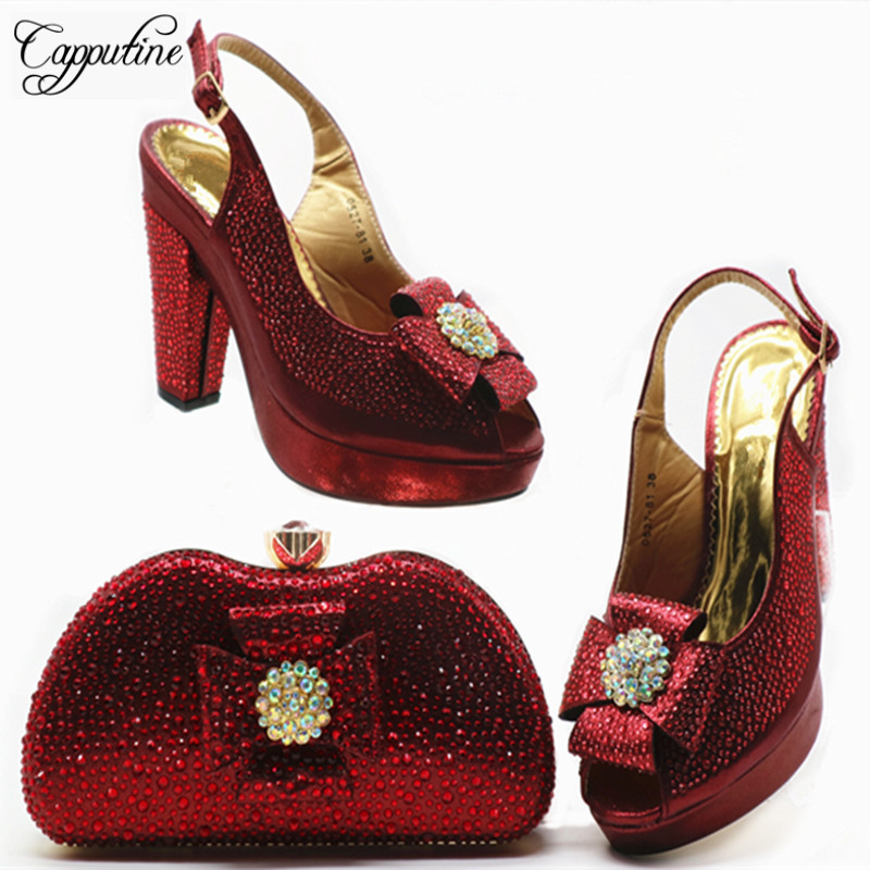 Capputine High Quality Woman Rhinestone Shoes And Bags Set Fashion Summer High Heels 10.5CM Shoes And Bag Set For Wedding DressCapputine High Quality Woman Rhinestone Shoes And Bags Set Fashion Summer High Heels 10.5CM Shoes And Bag Set For Wedding Dress