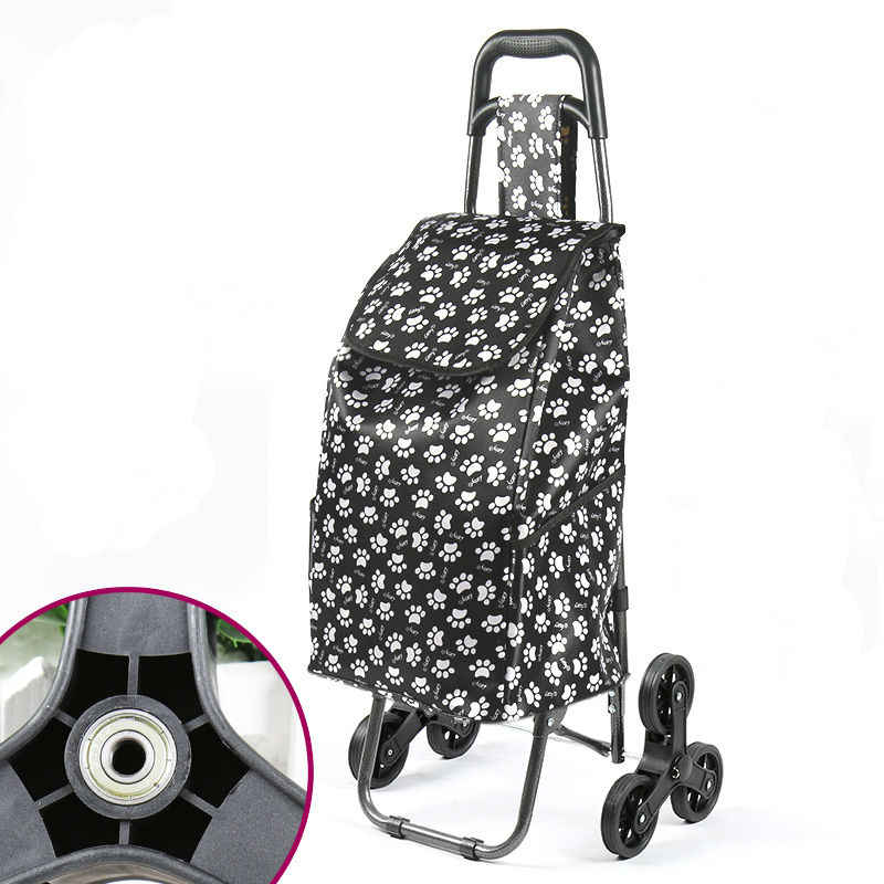 8db5c2db687d Foldable Shopping Cart With Wheel Thicken Rod Luggage Climbing Trolley  Heavy Bearing Portable Waterproof Shopping Bag
