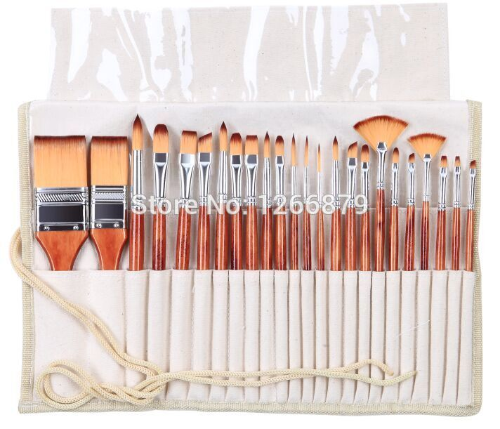 2281 24PC/set paint art brush set acrylic watercolor brushes artistic set with pencil case for acrylic and oil painting drawing 16 holes portable professional oil painting brush watercolor brush case knife paper pen case drawing set acrylic set bag only