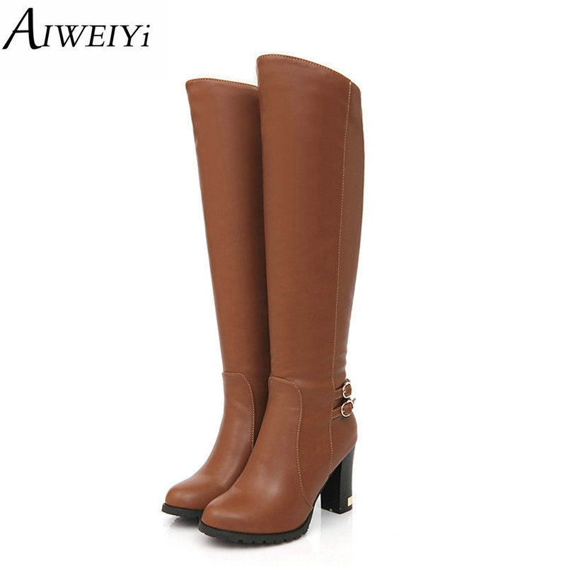 AIWEIYi Women Boots Black Brown Square High Heel Knee High Boots Fur Warm Winter Ladies Snow Boots Knight Boots enmayer over the knee boots shoes new pu knitting square heel high boots warm snow long boots red brown black knight boots