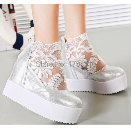 2016 New Fashion Women's lncreased within Slip-On Boat Flat Shoes Round Toe Casual PU Leather Platform Shoes 35 - 40