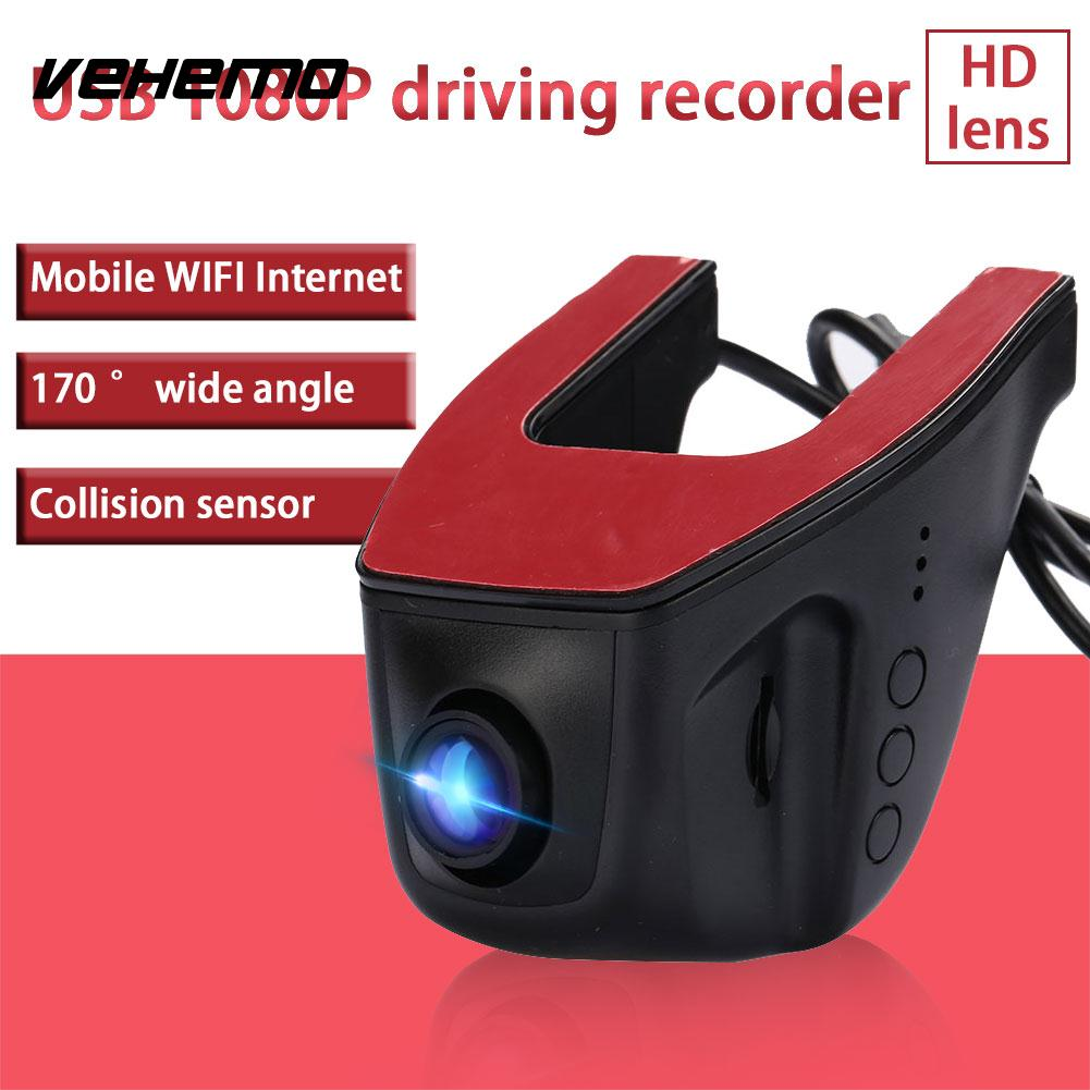 Vehemo 170 Degrees Support TF Car DVR Automobile Dash Cam Universal Car Camera G-Sensor Video Recorder