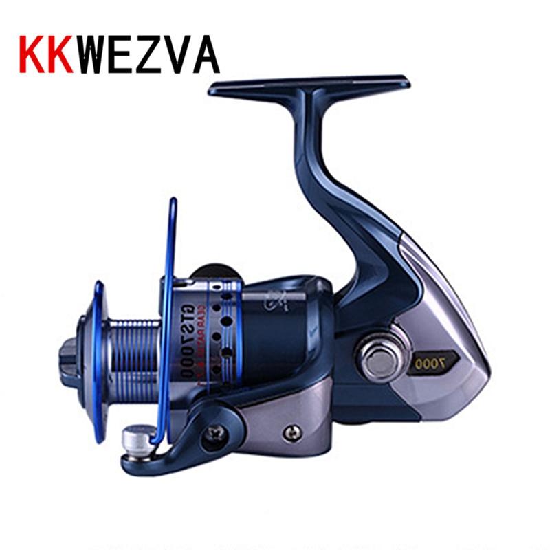 KKWEZVA Metal Deep Cup 2000H-5000H 13+1BB Spinning Fishing Reel Hi-Speed Full Metal Spinning Wheel + Metal CNC Rocker
