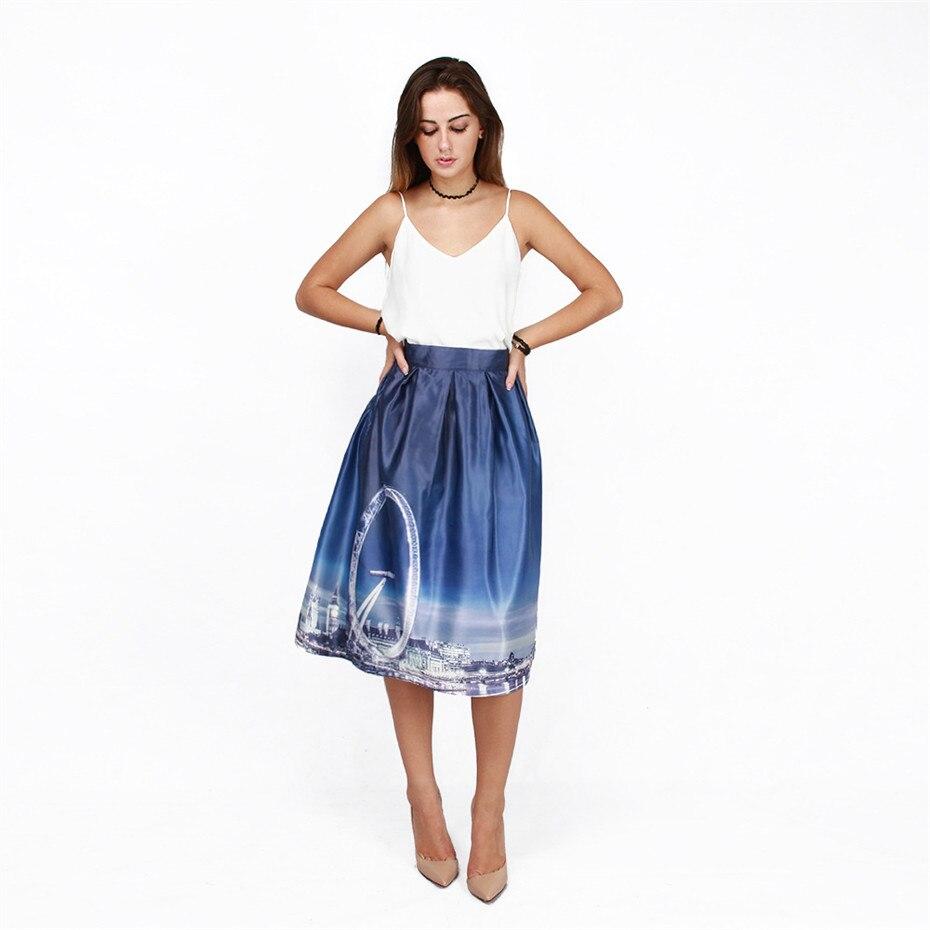 Joy Only 2018 Summer Women Skirts Bright City Galaxy 3D Print Skirts Saias Midi Elastic Waist Sexy Blue Skirt Party Wear Clothes