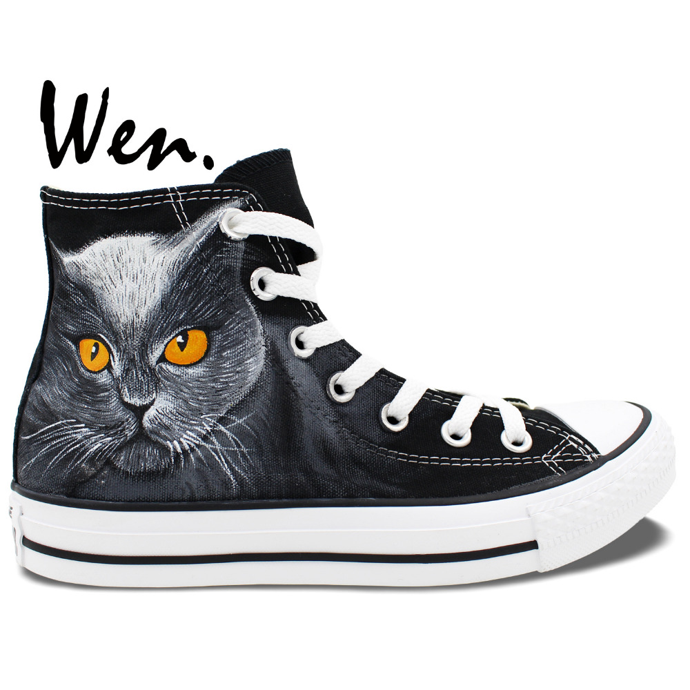 Wen Original Black Hand Painted Shoes Design Custom Yellow Eyes Black Pet Cat High Top Men Women's Canvas Sneakers wen original hand painted canvas shoes space galaxy tardis doctor who man woman s high top canvas sneakers girls boys gifts