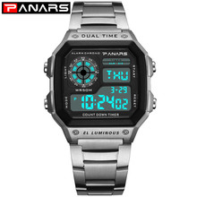 лучшая цена Silver Digital Watches Women Men Relogio Feminino Stainless Steel Sports Wrist Watch For Ladies Electronic LED Waterproof Watch