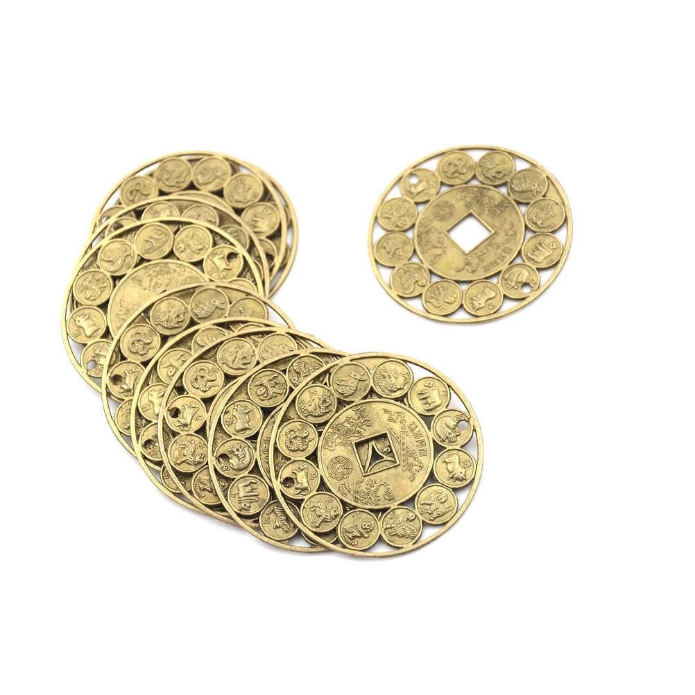 Liga de zinco Auspicioso Sorte Zodíaco Chinês Feng Shui Moeda Para Proteção Amuleto de Boa Sorte Próspero