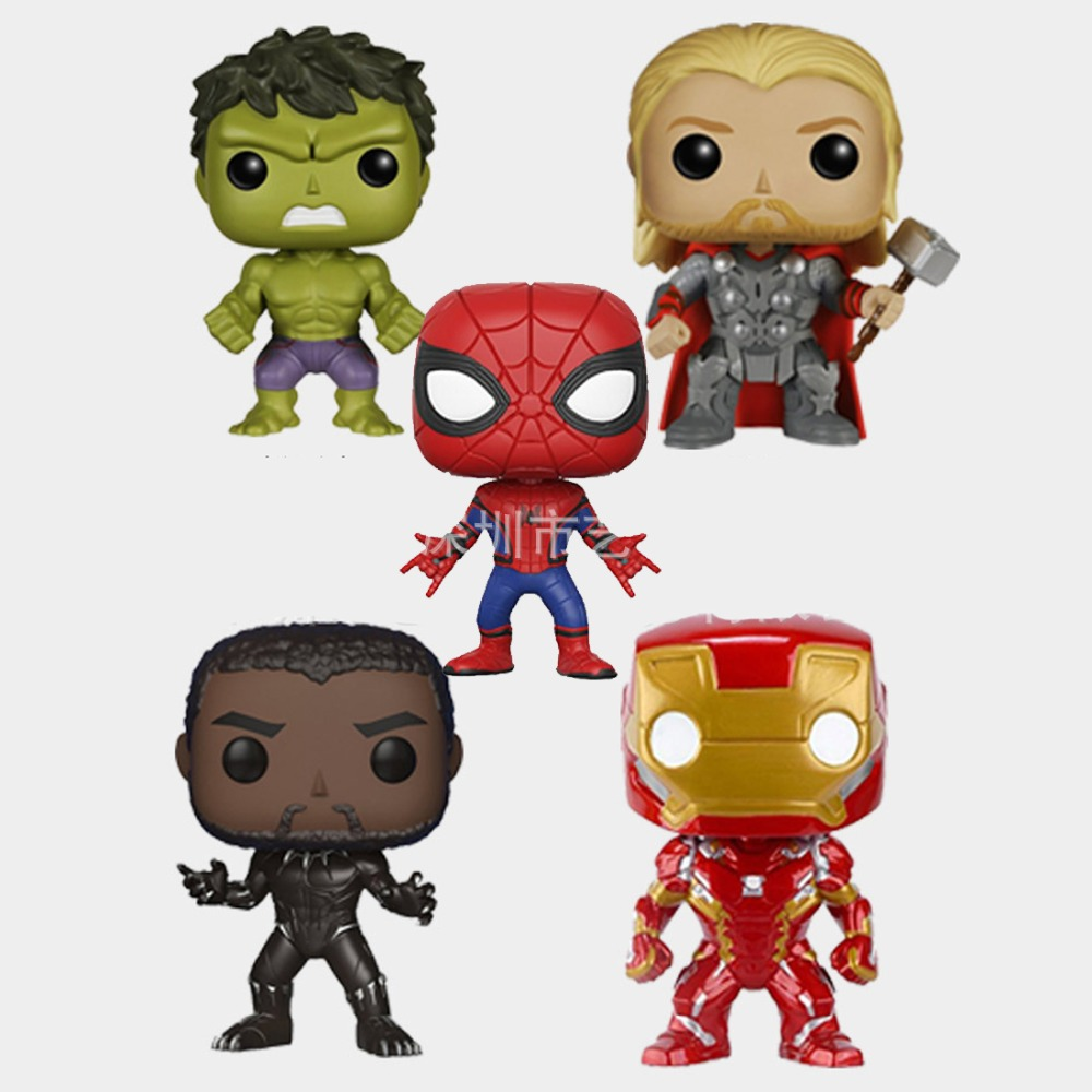 Funko POP Marvel Avengers Thor Black Panther Iron Man Spiderman Hulk Superhero Movie Jewelry Accessories set Jewelry