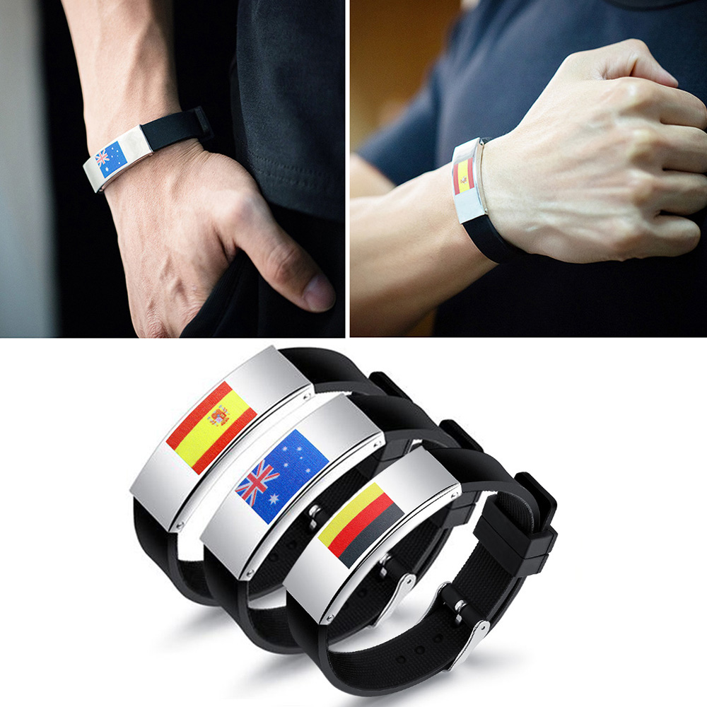 2018 National Flags Stainless Steel Silicone Bracelets Wristbands for Football Sport Event and Parties GermanySpainAustralia