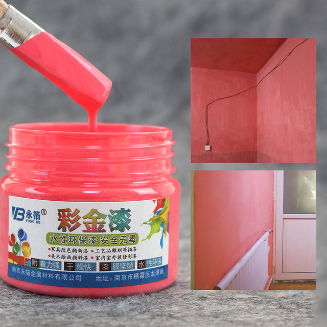 100g Princess Red Water-based Paint Varnish for Wall,Painting,Furniture,Cabinet, Iron&Wooden Doors,Fence,Craft Free Brush&Gloves