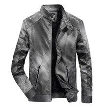 Осенне-зимняя обувь новая мужская кожаная куртка ретро тонкий мотоциклетная куртка плюс бархат ветрозащитный PU кожаная куртка
