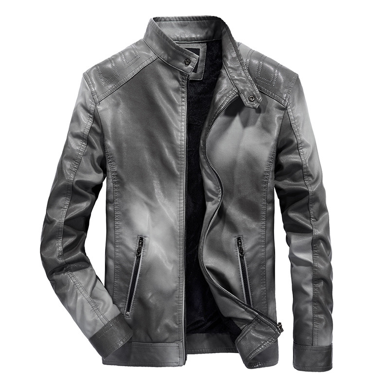 Autumn And Winter New Men's Leather Jacket Retro Slim Motorcycle Jacket Plus Velvet Windproof PU Leather Coat