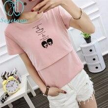 9007# Summer Maternity Nursing T-shirt Breastfeeding Tees Clothes for Pregnant Women Cartoon Print Cotton Pregnancy T Shirt Tops