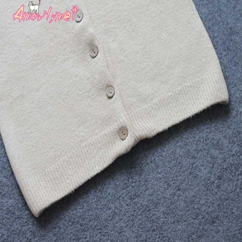 Automne hiver femmes Mori fille couleur unie col rond simple boutonnage à manches longues pull court tricot Cardigan manteaux femme