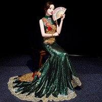 Green Embroidery Diamonds Oriental Evening Dress Women Elegant Tailing Satin Chinese Cheongsam Wedding Robe Chinoise Femme