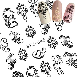 Image 3 - 1 Sheets Water Transfer Nail Stickers Pattern Simple Black Designs DIY Fashion Tips For Nail Art Watermark Decor TRSTZ638 658