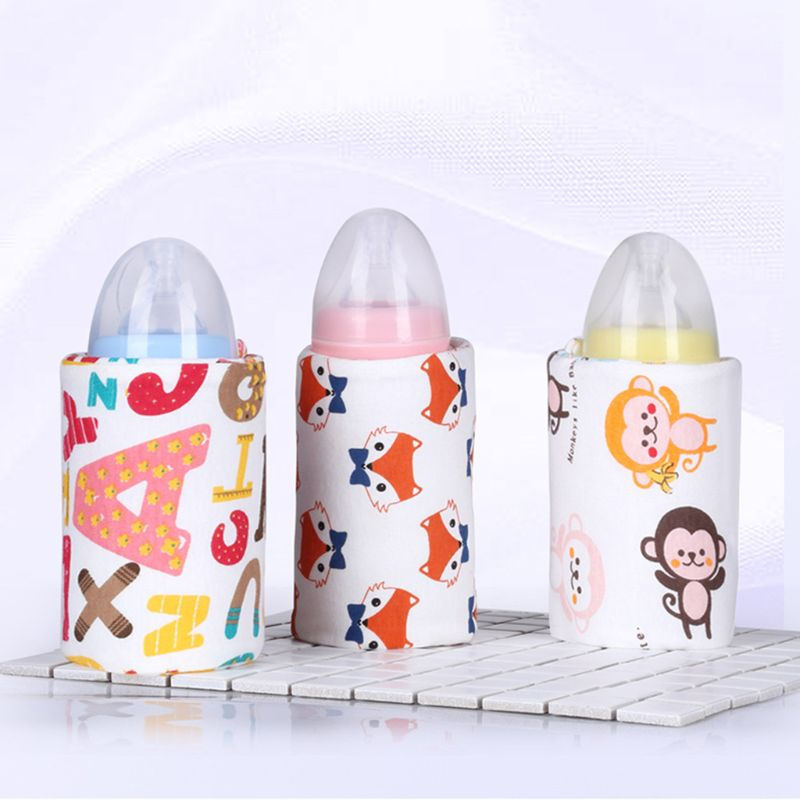 Baby Bottle Thermal Bag Cartoon Print Animal Constant Temperature Insulation USB Rechargeable Portable Milk Water Warmer